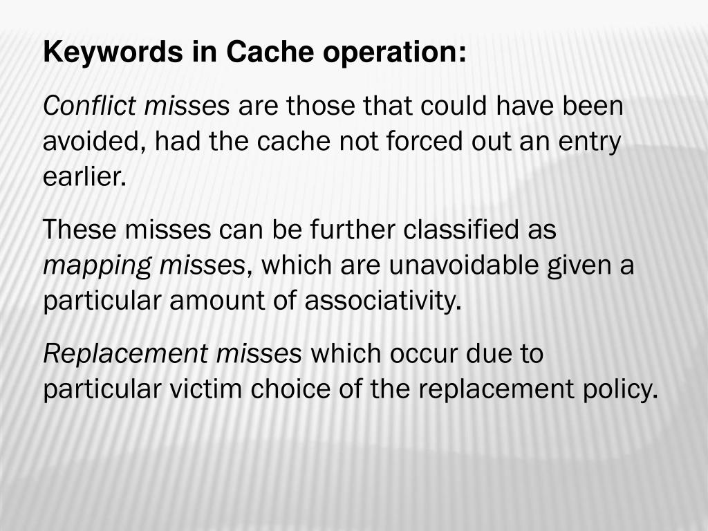 Keywords in Cache operation: