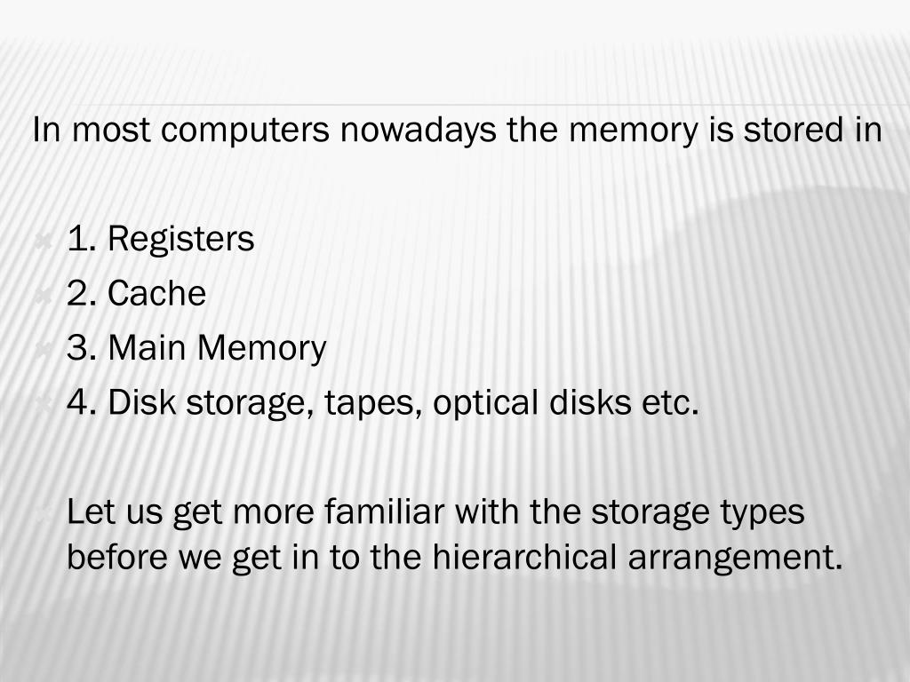 In most computers nowadays the memory is stored in