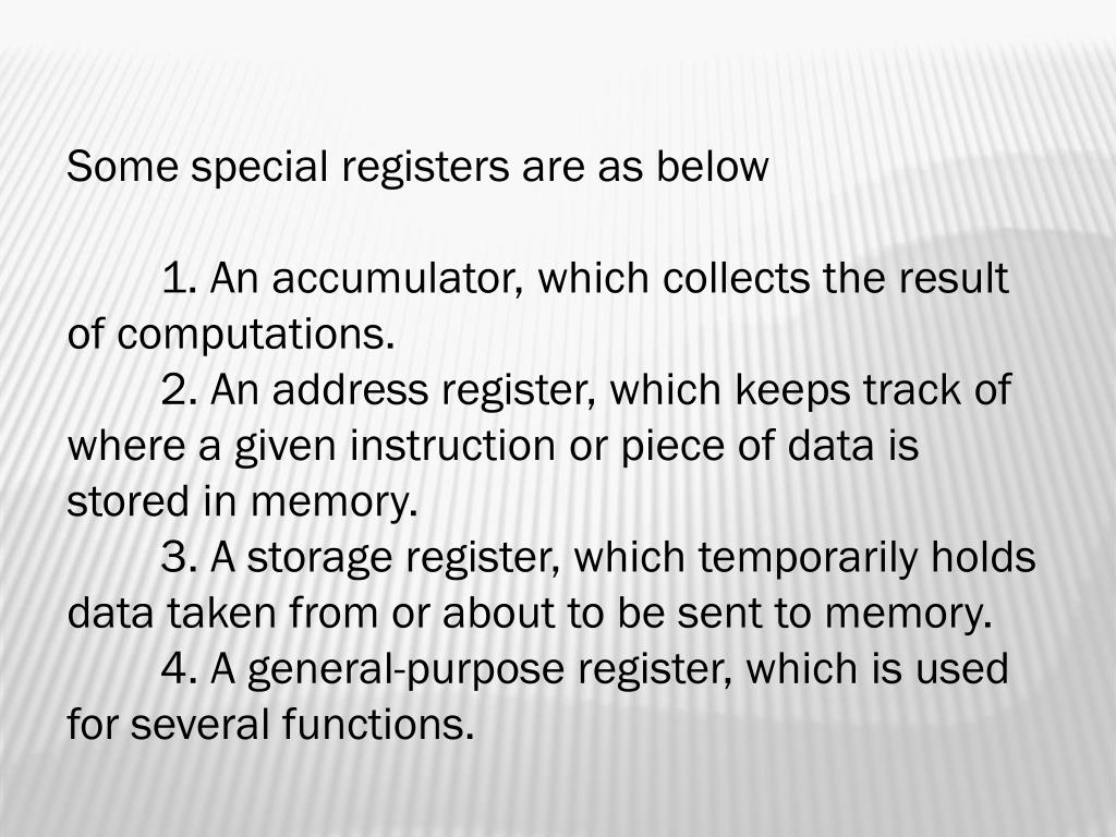 Some special registers are as below