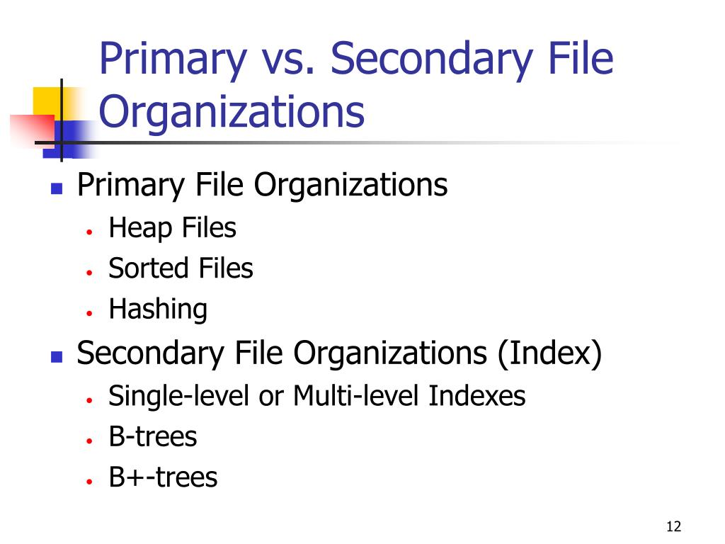 Primary vs. Secondary File Organizations