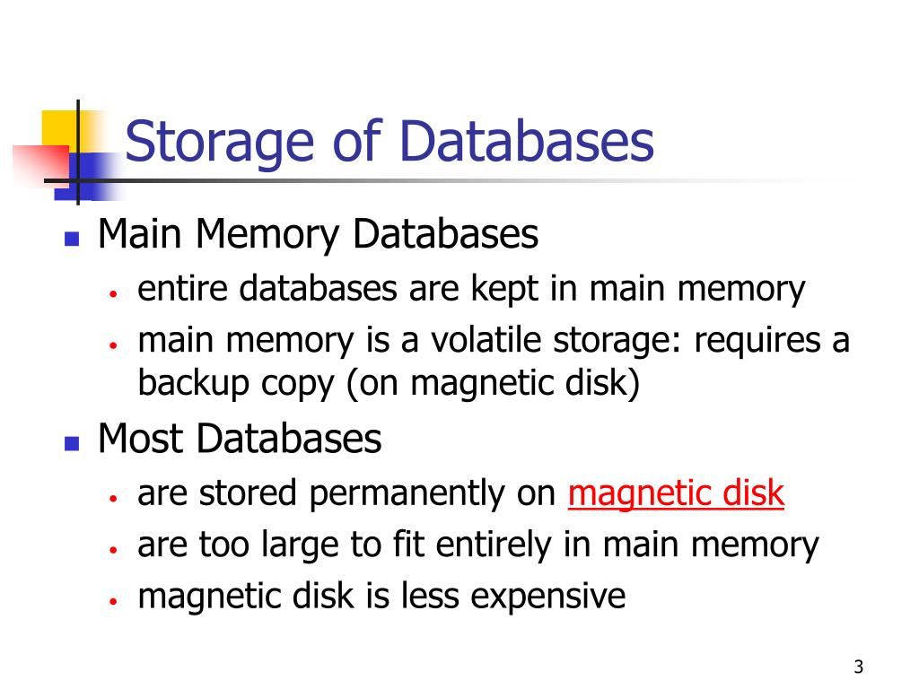 Storage of Databases