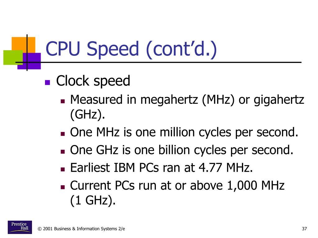 CPU Speed (cont'd.)