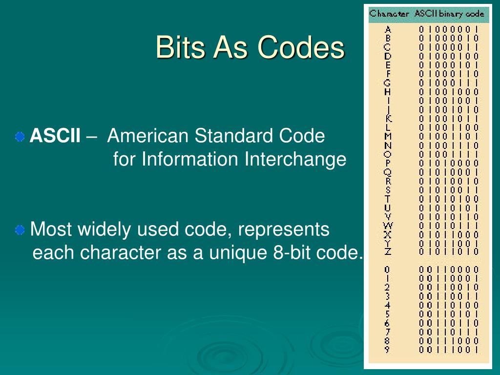 Bits As Codes