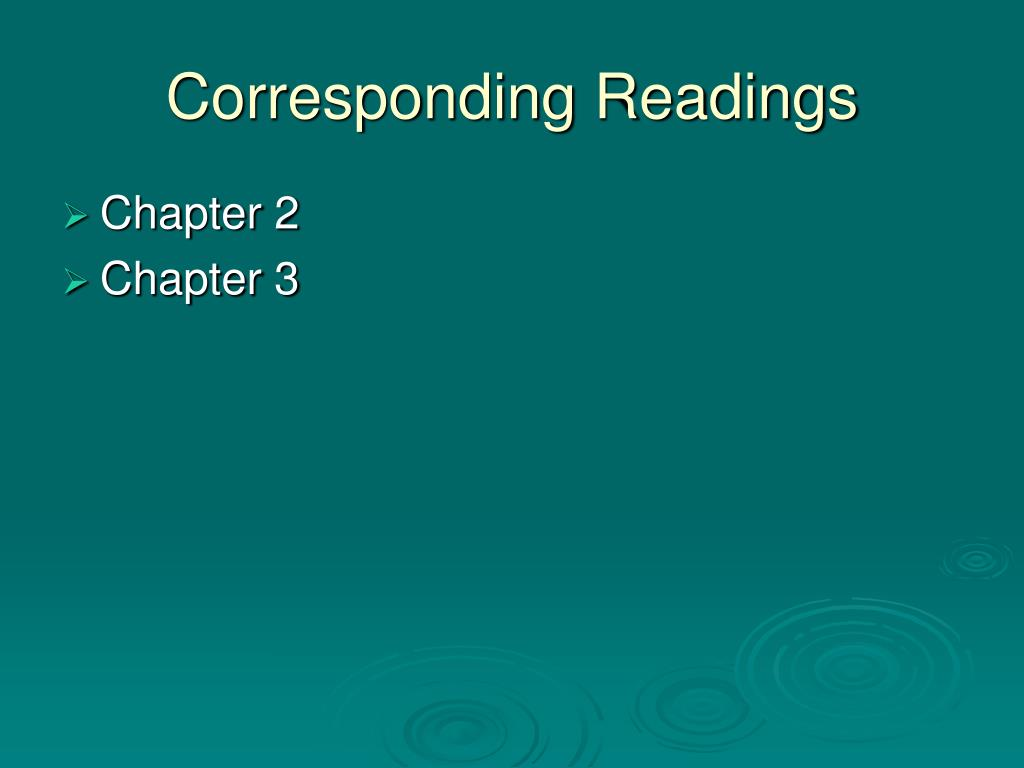 Corresponding Readings
