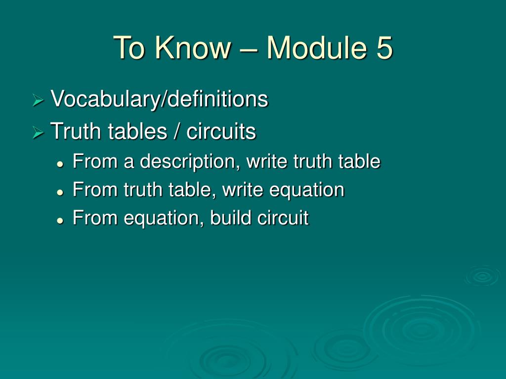 To Know – Module 5