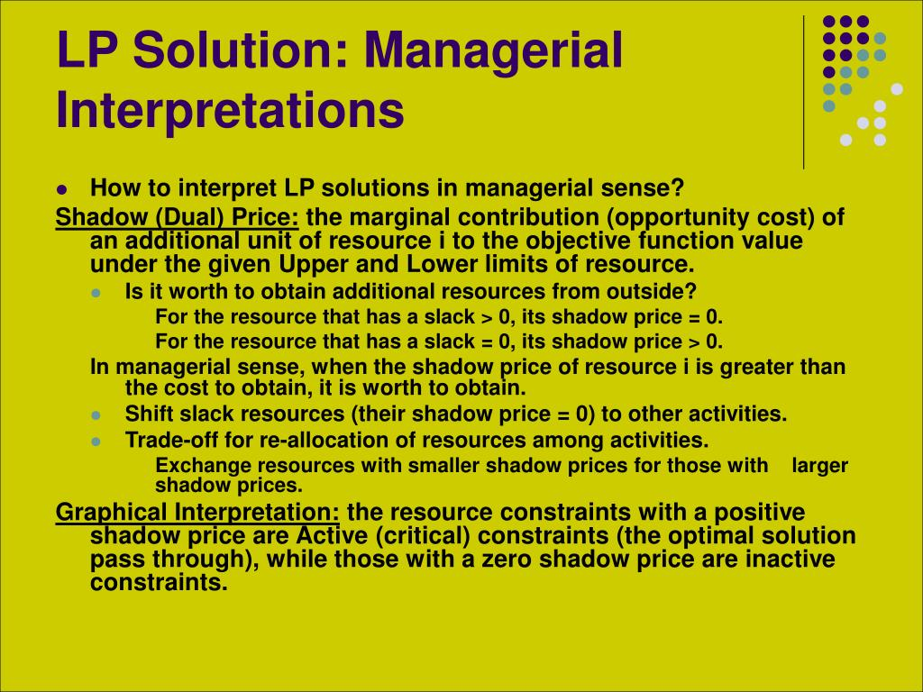 LP Solution: Managerial Interpretations