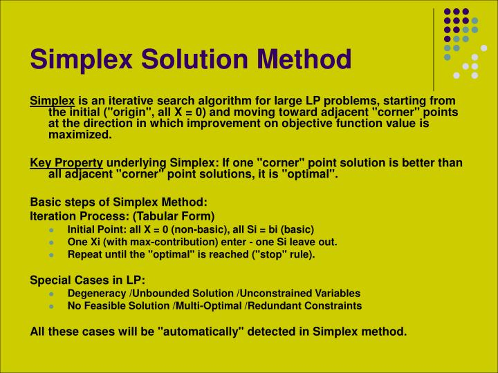 Simplex solution method