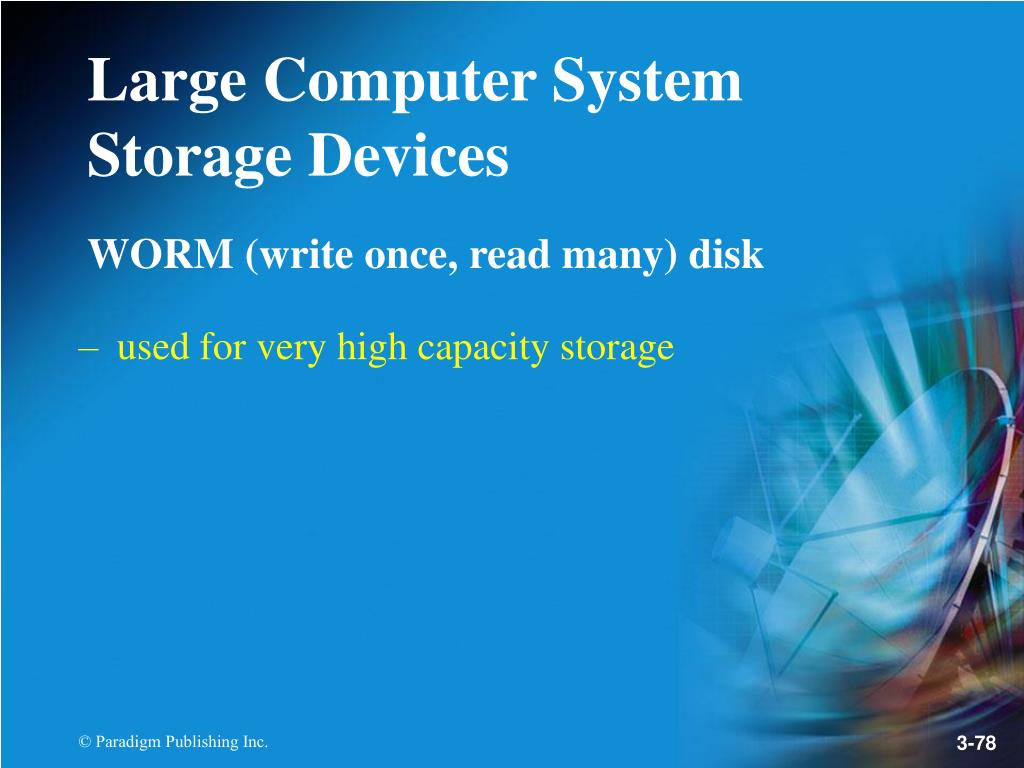 WORM (write once, read many) disk