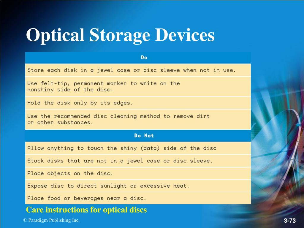 Care instructions for optical discs