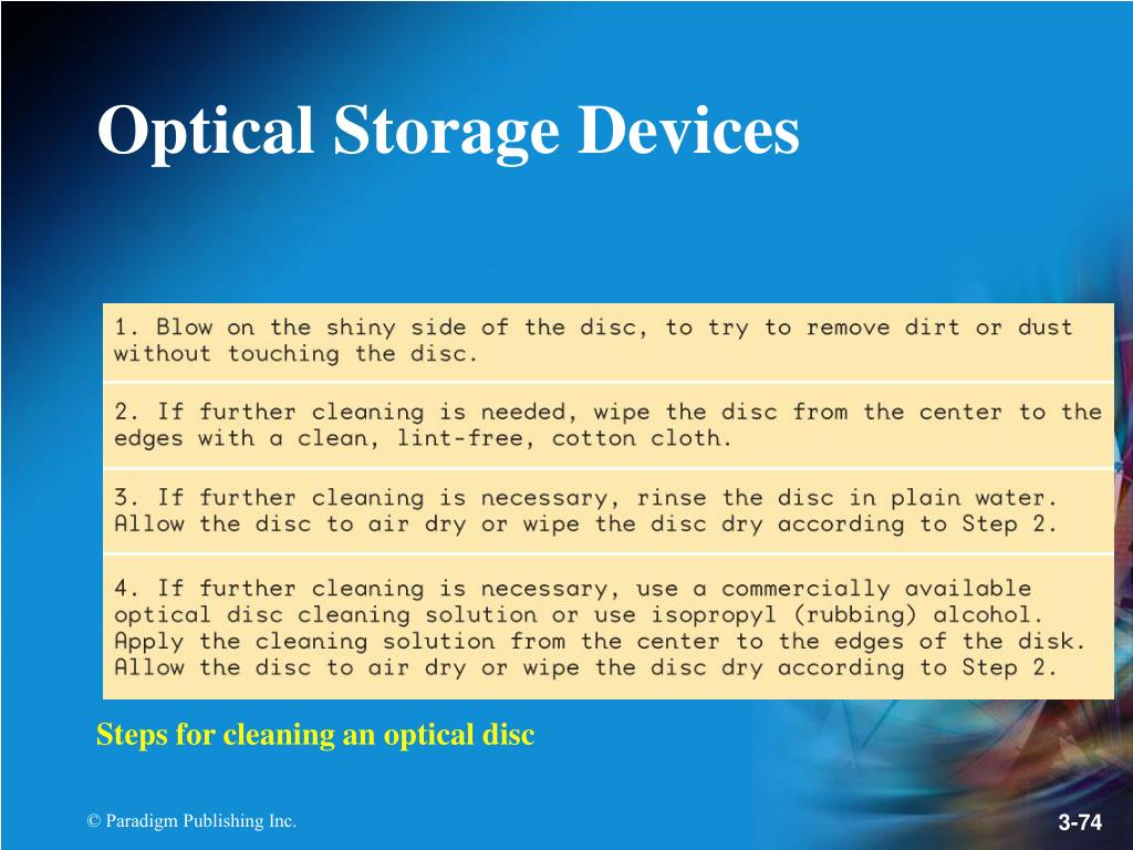 Steps for cleaning an optical disc