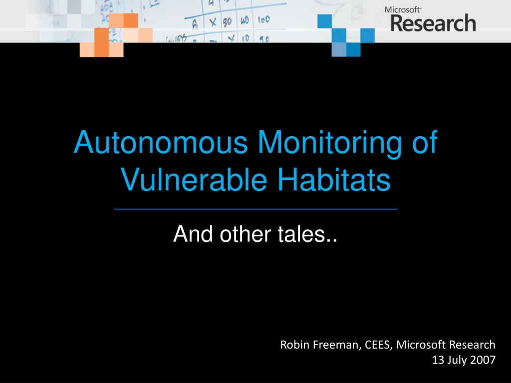autonomous monitoring of vulnerable habitats
