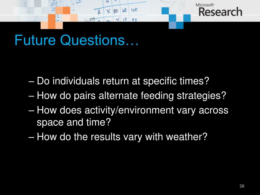 Future Questions…
