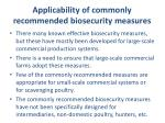 applicability of commonly recommended biosecurity measures