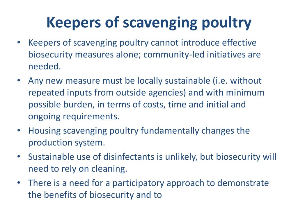Keepers of scavenging poultry