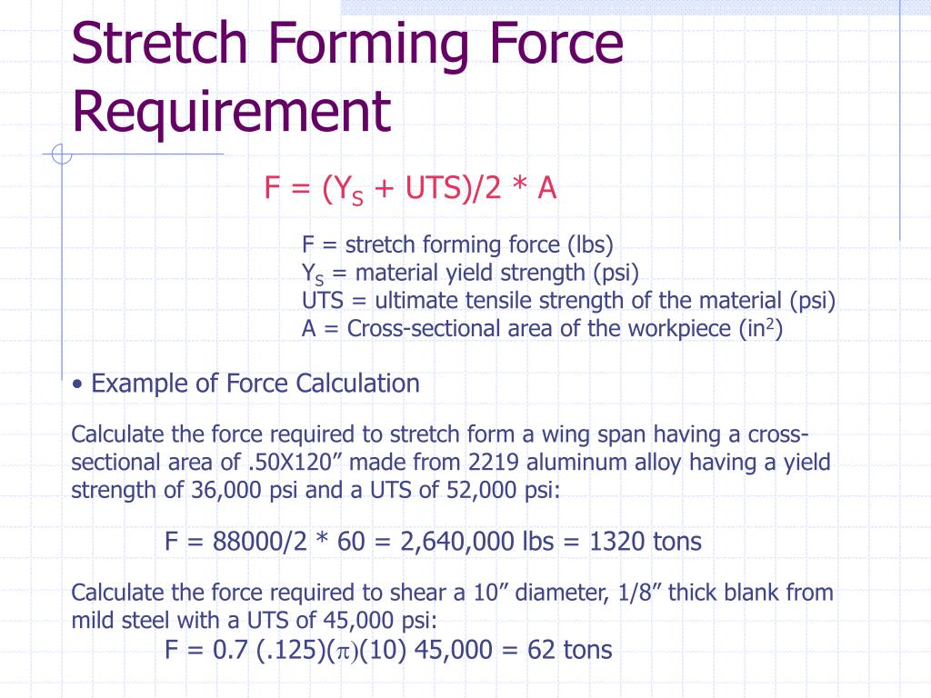 Stretch Forming Force Requirement