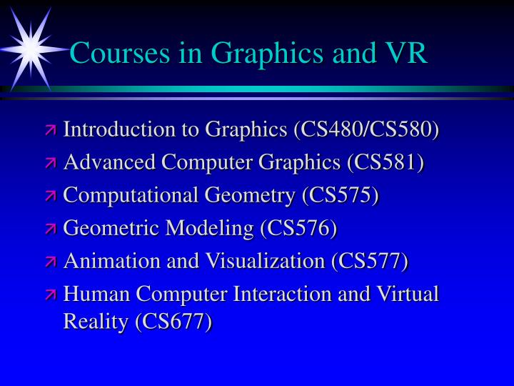 Courses in Graphics and VR
