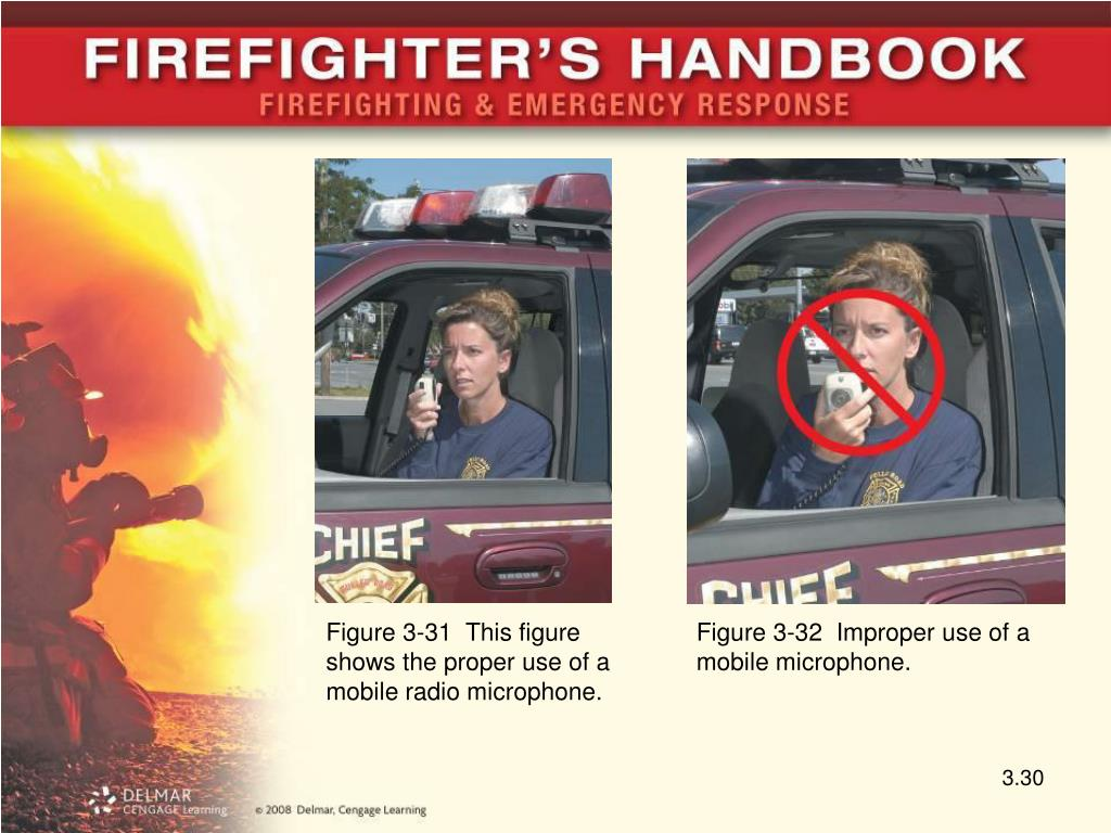 Figure 3-31  This figure shows the proper use of a mobile radio microphone.