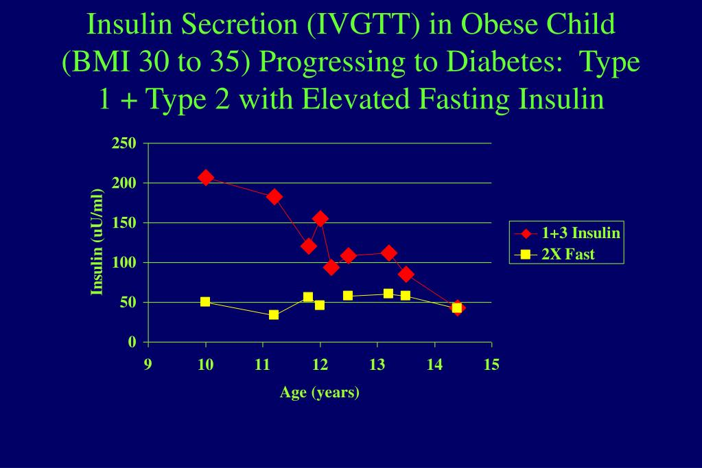 Insulin Secretion (IVGTT) in Obese Child (BMI 30 to 35) Progressing to Diabetes:  Type 1 + Type 2 with Elevated Fasting Insulin