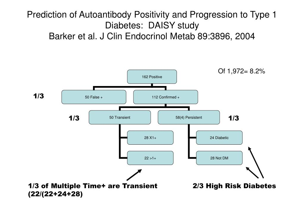 Prediction of Autoantibody Positivity and Progression to Type 1 Diabetes:  DAISY study