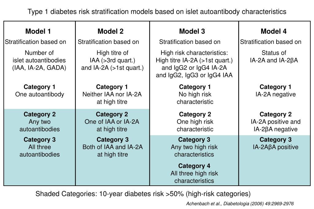 Type 1 diabetes risk stratification models based on islet autoantibody characteristics