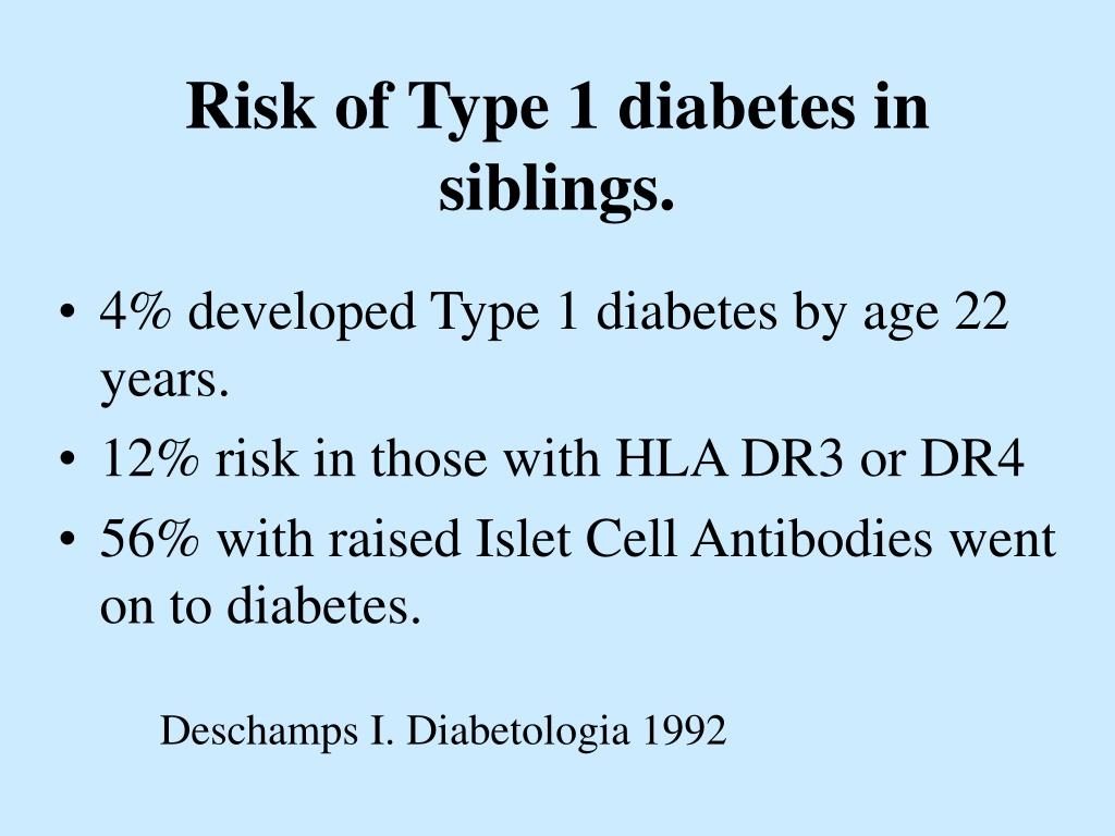 Risk of Type 1 diabetes in siblings.