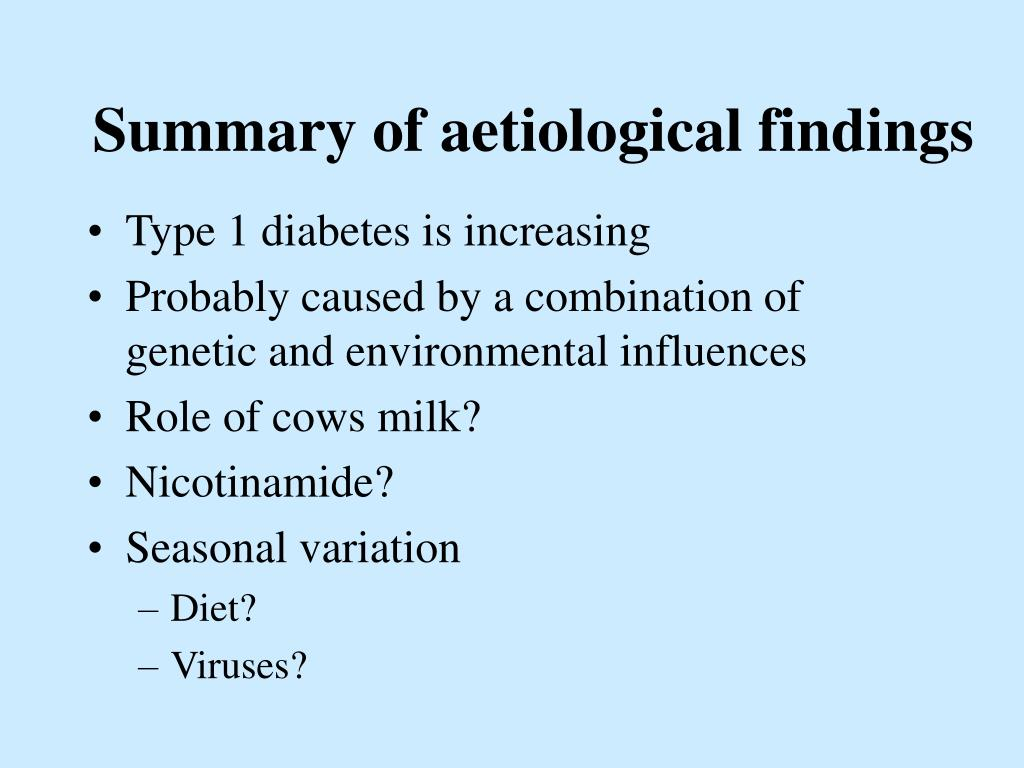 Summary of aetiological findings