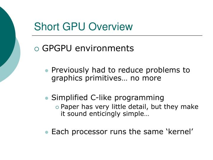 Short GPU Overview