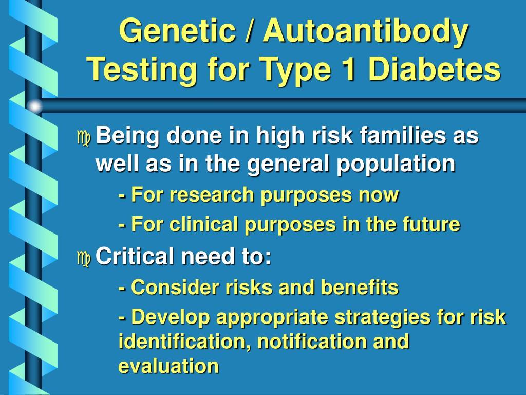 Genetic / Autoantibody Testing for Type 1 Diabetes