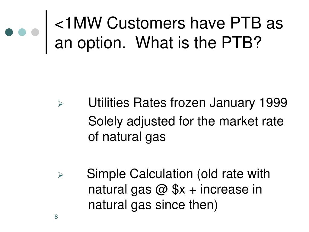 <1MW Customers have PTB as an option.  What is the PTB?