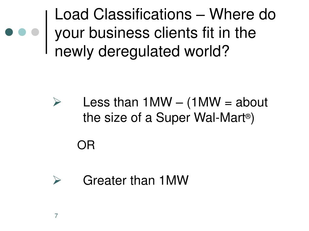 Load Classifications – Where do your business clients fit in the newly deregulated world?
