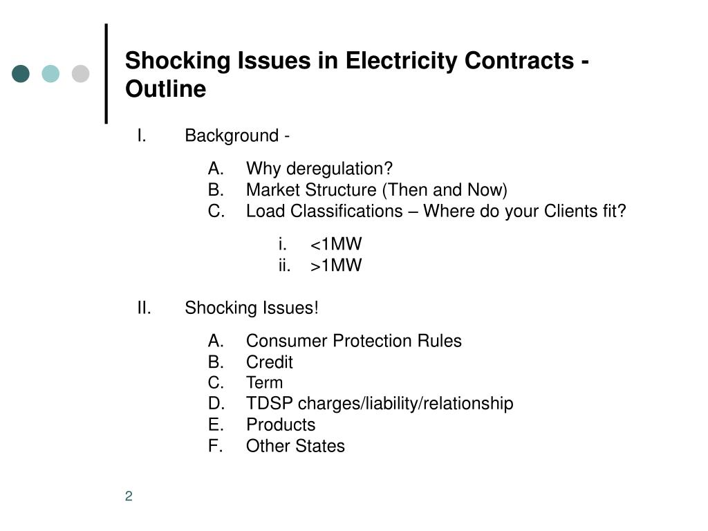 Shocking Issues in Electricity Contracts - Outline