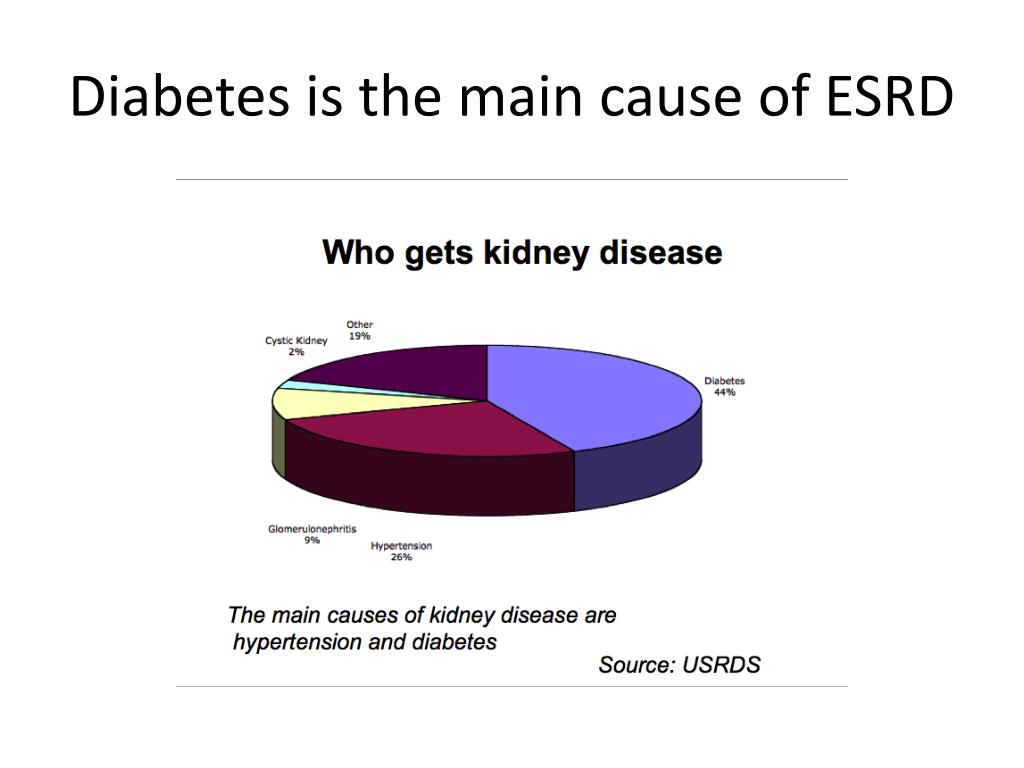 Diabetes is the main cause of ESRD