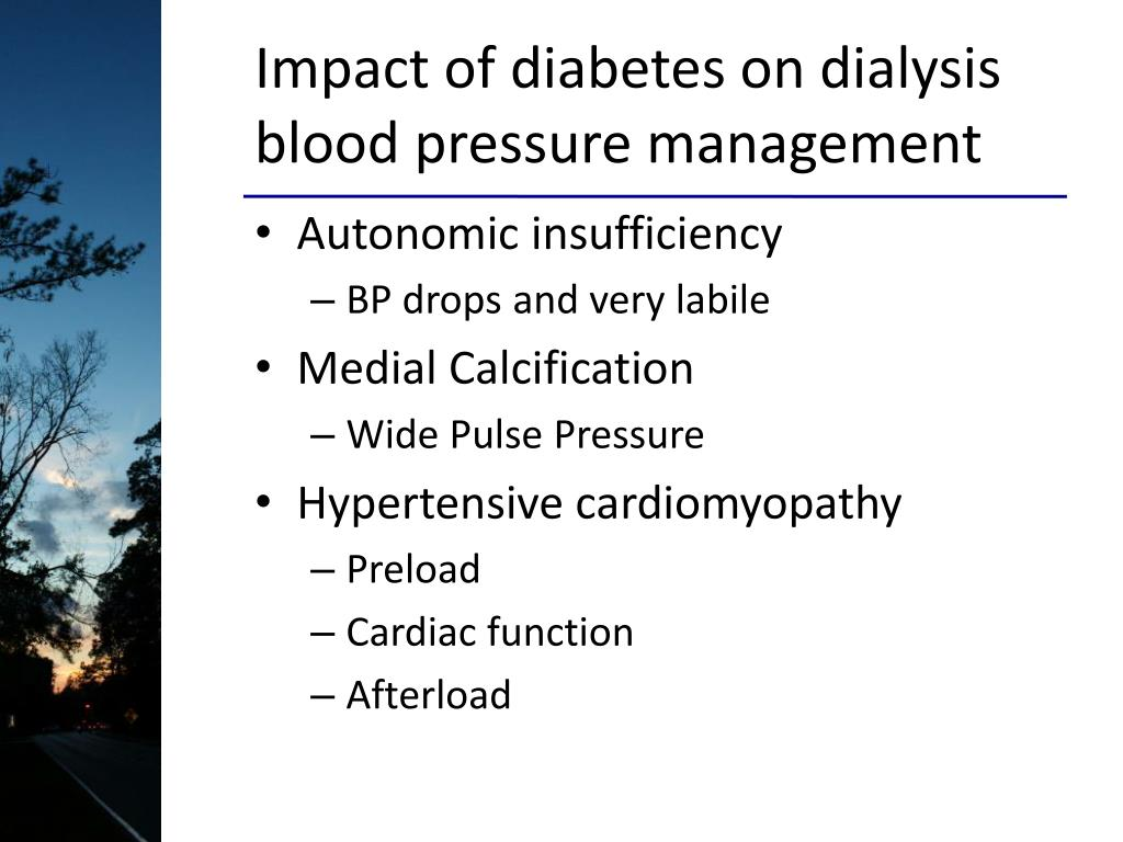 Impact of diabetes on dialysis blood pressure management