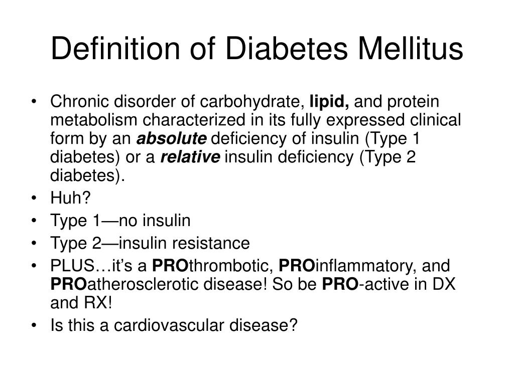 Definition of Diabetes Mellitus