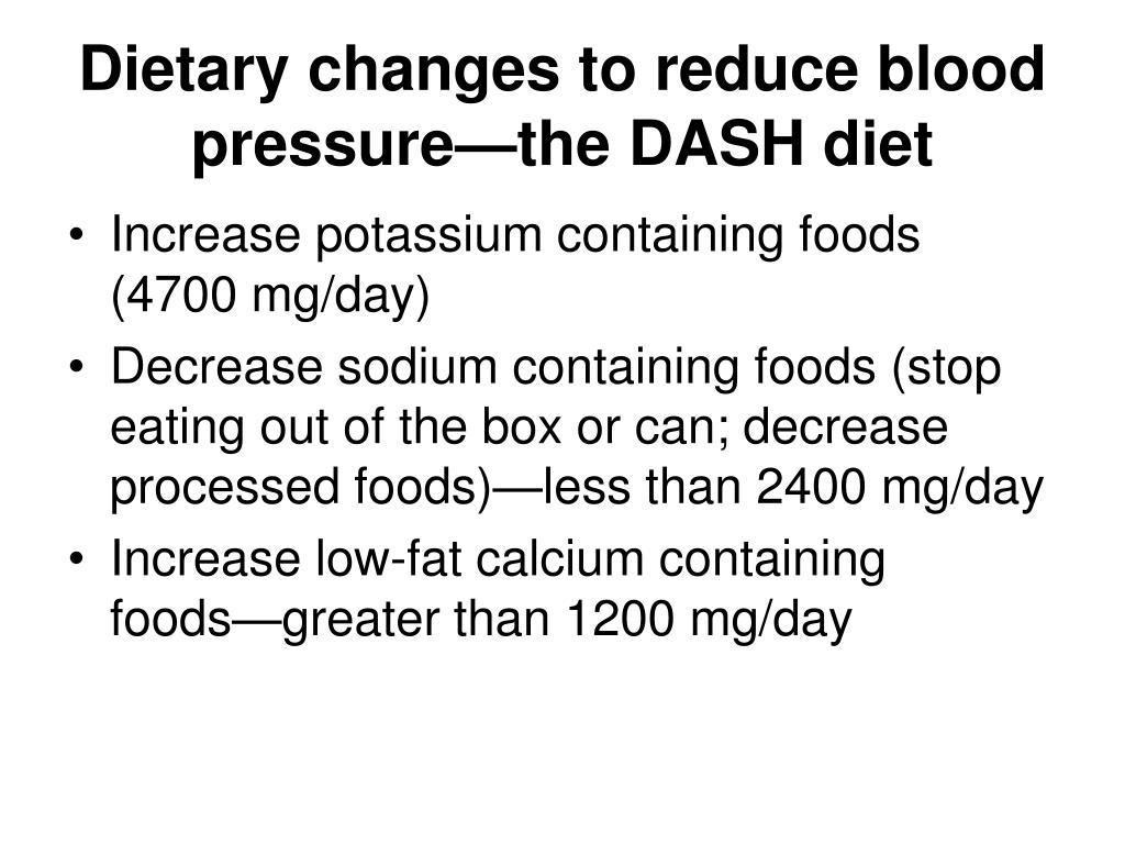 Dietary changes to reduce blood pressure—the DASH diet