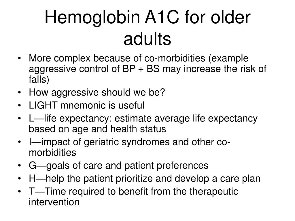 Hemoglobin A1C for older adults
