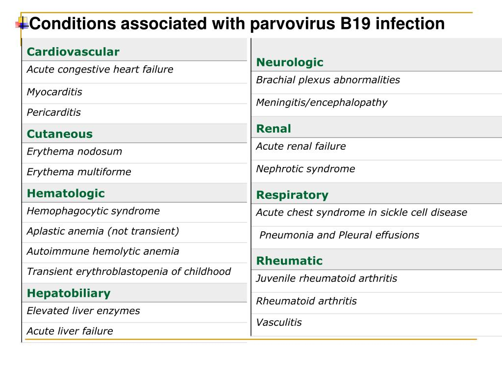 Conditions associated with parvovirus B19 infection