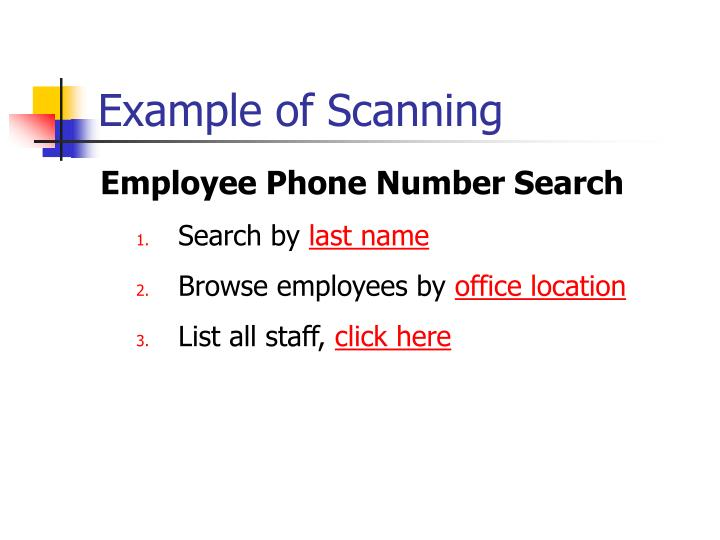 Example of Scanning