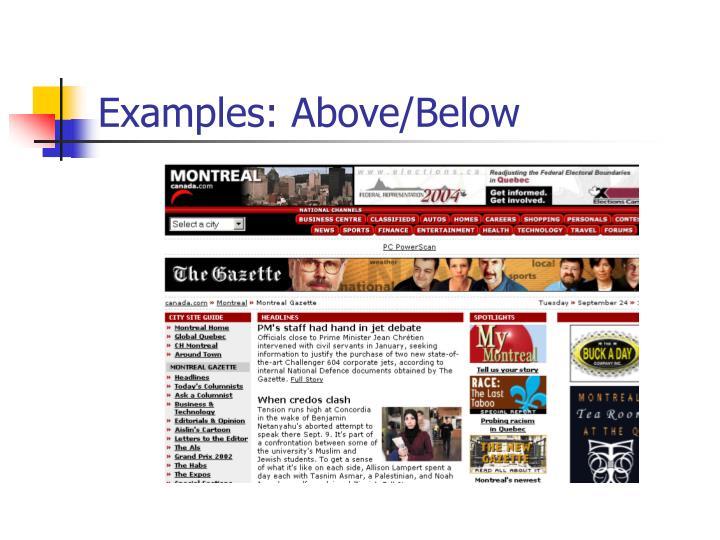 Examples: Above/Below