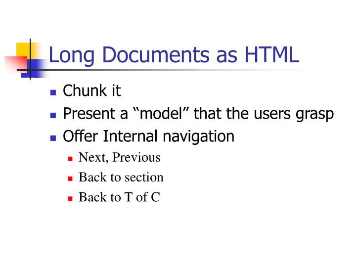 Long Documents as HTML