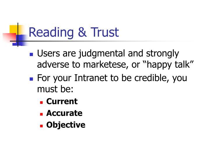 Reading & Trust