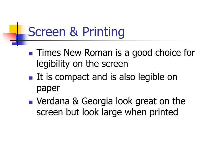 Screen & Printing