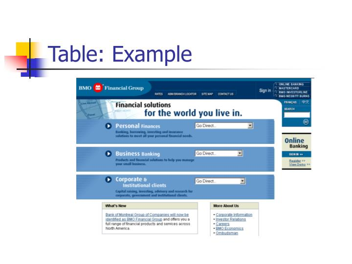 Table: Example