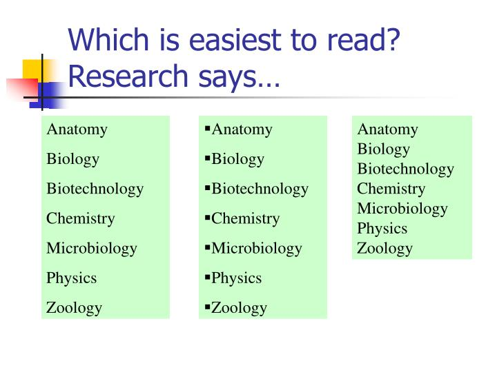 Which is easiest to read? Research says…