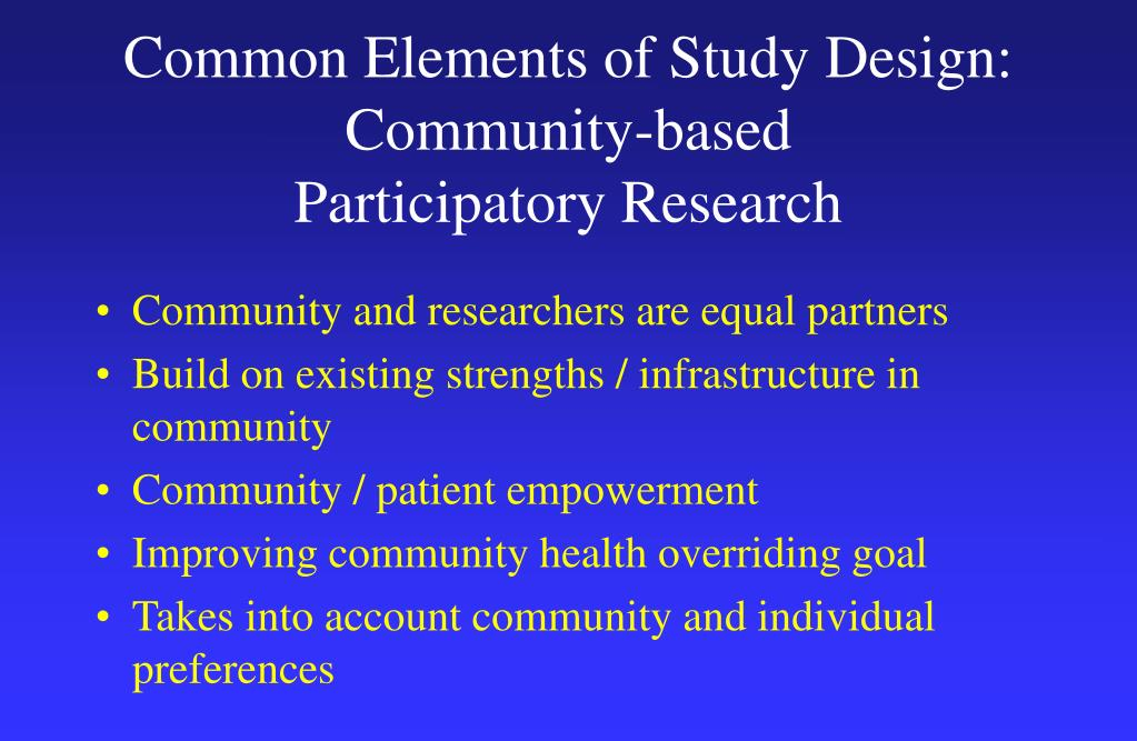 Common Elements of Study Design:
