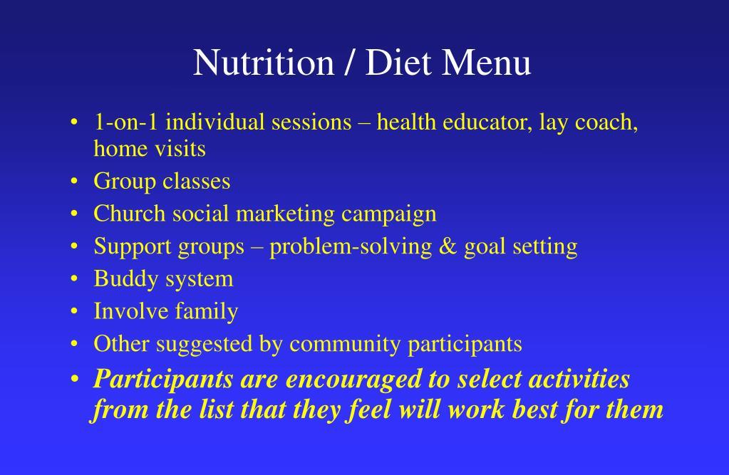Nutrition / Diet Menu