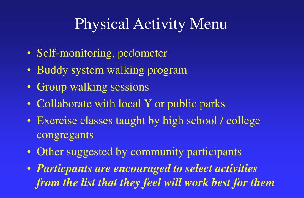 Physical Activity Menu