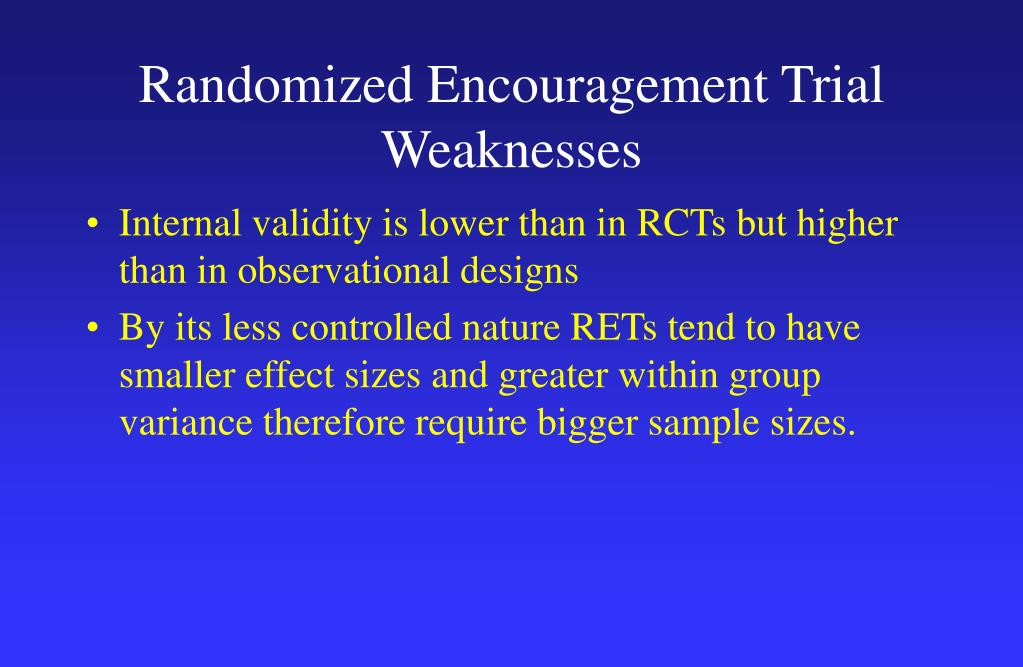 Randomized Encouragement Trial Weaknesses