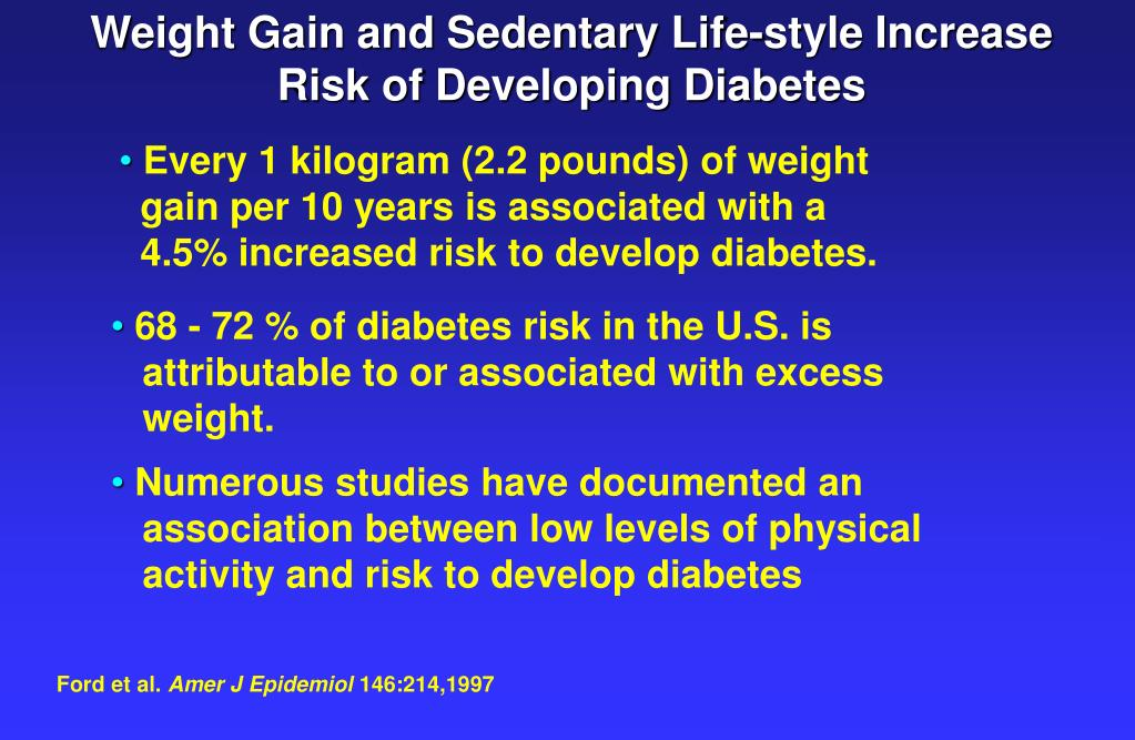 Weight Gain and Sedentary Life-style Increase Risk of Developing Diabetes