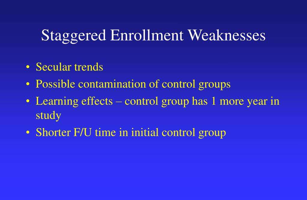 Staggered Enrollment Weaknesses